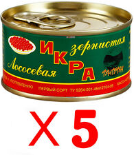 5 cans Russian Genuine Red Salmon Caviar Best quality total 700 gr./ 24.69 oz