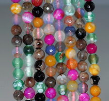 """6MM  AGATE GEMSTONE ICE MULTI COLOR FACETED ROUND LOOSE BEADS 14.5"""""""
