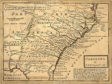 1732 Carolina Historic Old American Map - 20x28