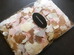 Rose Gold, Pink, White, Ivory Confetti - Love Hearts - Choose amount. Fill Cones