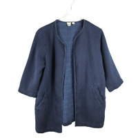 Eileen Fisher Women's Long Jacket Size M Blue Open Front 3/4 Sleeve Pockets