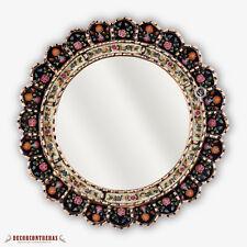 "Decorative Cuzcaja Round Mirror for wall 17.7""- Peruvian Handmade Mirror wall"