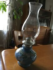 Vintage 1980 Kaadan Limited Blue Day Lily Flower Oil Parafin Lamp w/Glass Globe