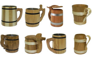 Wooden Oak Beer Mug Cup Tankard Mane in EU Very Solid Father's Day 0.5l