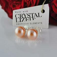 925 Sterling Silver Stud Earrings Crystals From Swarovski® PEARL Peach 8mm