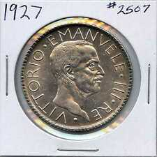 1927 Italy Silver 20 Lire. Almost Uncirculated. Lot #2210