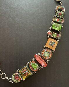 Firefly La Dolce Vita Swarovski Crystal Mosaic Green Pink Bracelet