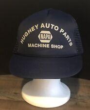 Vtg NAPA Hughey Auto Parts Machine Shop Foam Mesh Snapback Trucker Hat Blue