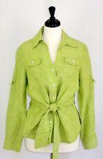 Jones New York 100% Linen Blouse Shirt Tie Front Green L