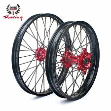 "NEW  WHEELS SET RED HUBS HONDA CR125 CR250 CRF250 CRF450 21"" & 19"" BLACK RIMS"