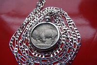 "ANTIQUE AMERICANA FULL HORN Buffalo Nickel Bezel + 24"" 925 Sterling Silver Chain"