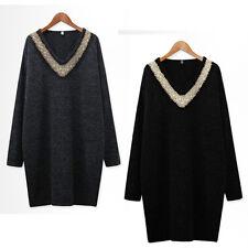 Women Ladies Casual Knit Dress Long Sleeve AU Size 12 14 16 18 20 22 24 26 #1061