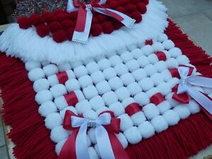 POM POM BLANKET PRAM COVER WINE RED AND WHITE WITH BOW TRIMMINGS