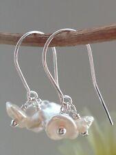 Beautiful White KESHI Freshwater Pearl Cluster Sterling Silver Earrings - Bridal