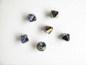 6 x 8 mm Bicone Heliotrope Swarovski Crystal Beads
