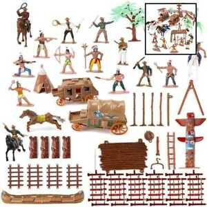 Liberty Imports Wild West Cowboys and Native American Indians Plastic Figure Sol