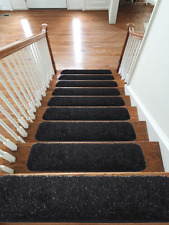 Shaggy Glittter Stair Treads NON-SLIP MACHINE WASHABLE Rug/Carpet, 22x67cm,BLACK