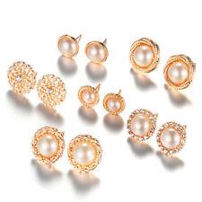 6pairs/set Rhinestone Crystal Pearl Earrings Ear Studs Elegant Jewelry R