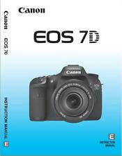 Canon EOS 7d 7 D Instruction Owners Manual Eos7d Book