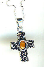 """925 Sterling Silver Amber Cross Pendant on 18"""" CHAIN  Length 1.1/5"""""""
