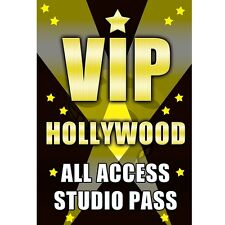 VIP HOLLYWOOD STUDIO Pass fun Plastic BAdge complete with chain to hang