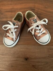 Girls Rose Gold Converse Trainers, UK Size 8 Infant