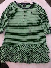 Girls Ralph Lauren 3T Dress Green/navy New/w Tags Long Sleeve Double Ruffle