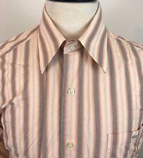 Lacoste Button Front Striped Shirt Men's Size 40 Medium Orange Peach