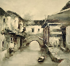 Original oil painting - CITY SCAPE 'Li-Jiang' Geoff Do - 90x90 cm ...STRIKING !