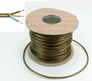 0.75MM 3 Core 2183Y Round Table Lamp Flex Cable Gold Brass 6AMP Lighting cable