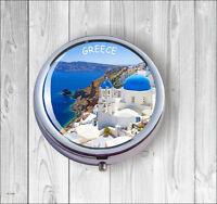 SOUVENIR FROM GREECE #2 PILL BOX ROUND METAL -fbg6Z