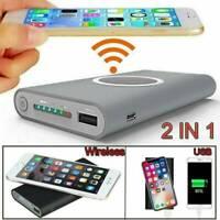 NEU 500000mAh PowerBank 2-USB LCD Wireless Externer Ladegerät Charger Für Handys