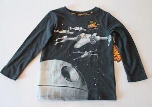 Disney Star Wars Glow-in-the-Dark Black Tee Shirt Long Sleeve Top Boy Size 4 NEW