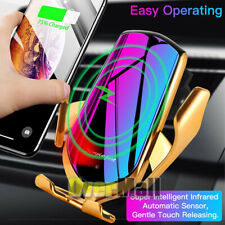Automatic Clamping Smart IR Sensor Car Mount Phone Qi Wireless Charger Holder