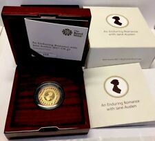 Gold Proof Two Pound Coin  (£2) ( Double Sovereign) Jane Austen 2017 COA & Boxes