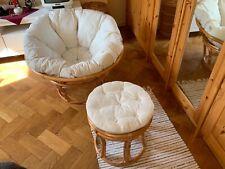 Rattan Papasan Sessel mit Fußhocker mit Kissen in beige * gebraucht