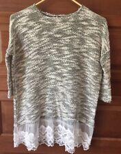 Bellamie Women Shirt Size Medium 3/4 Sleeve White And Black Knit