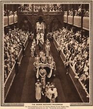 CORONATION 1937. The Queen Mother's parade. Mary of Teck. Westminster Abbey 1937