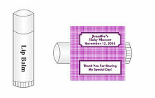 20 Personalized Lip Balm Glossy Baby Shower Purple Plaid Favor Labels Stickers
