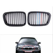 2Pcs Matte Black M-color Grille Grill For BMW E46 3 Series 4 Door 1998-2001 H00A