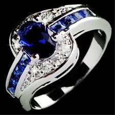 Size 8  Blue Sapphire Women White Gold Filled Engagement Ring Rings Jewelry