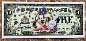 2005 Disney Dollar $5 Goofy 50th Anniversary Uncirculated
