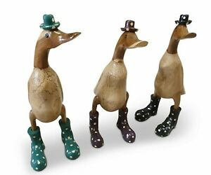 Wood Ducks with Rubber Boots Bamboo Cute Wooden Garden Decoration Decor