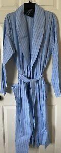 $65 NWT Mens Polo Ralph Lauren Lightweight Striped Cotton Robe Wrap Blue L/XL