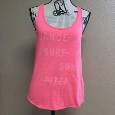 Hollister Dance Surf sun pizza tank top Shirt pink Women's Size Medium