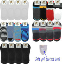 4 Pairs Mens Invisible Trainer Socks No Show Shoe Liners With Gel Heel Grips