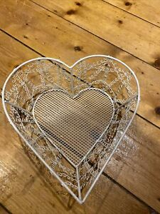 Wire Basket Heart Shaped Cream Colour, Shabby Chic Vintage Style