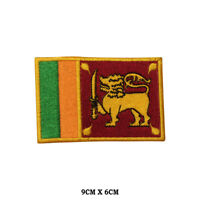 Sri Lanka National Flag Embroidered Patch Iron on Sew On Badge For Clothe etc