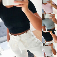 Women Summer Short Sleeve Blouse Solid Casual T-Shirt Slim Gym Sports Crop Tops