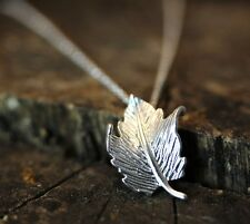 Tiny Leaf Pendant Necklace Womens Forest Theme Jewelry gift idea Silver Plated
